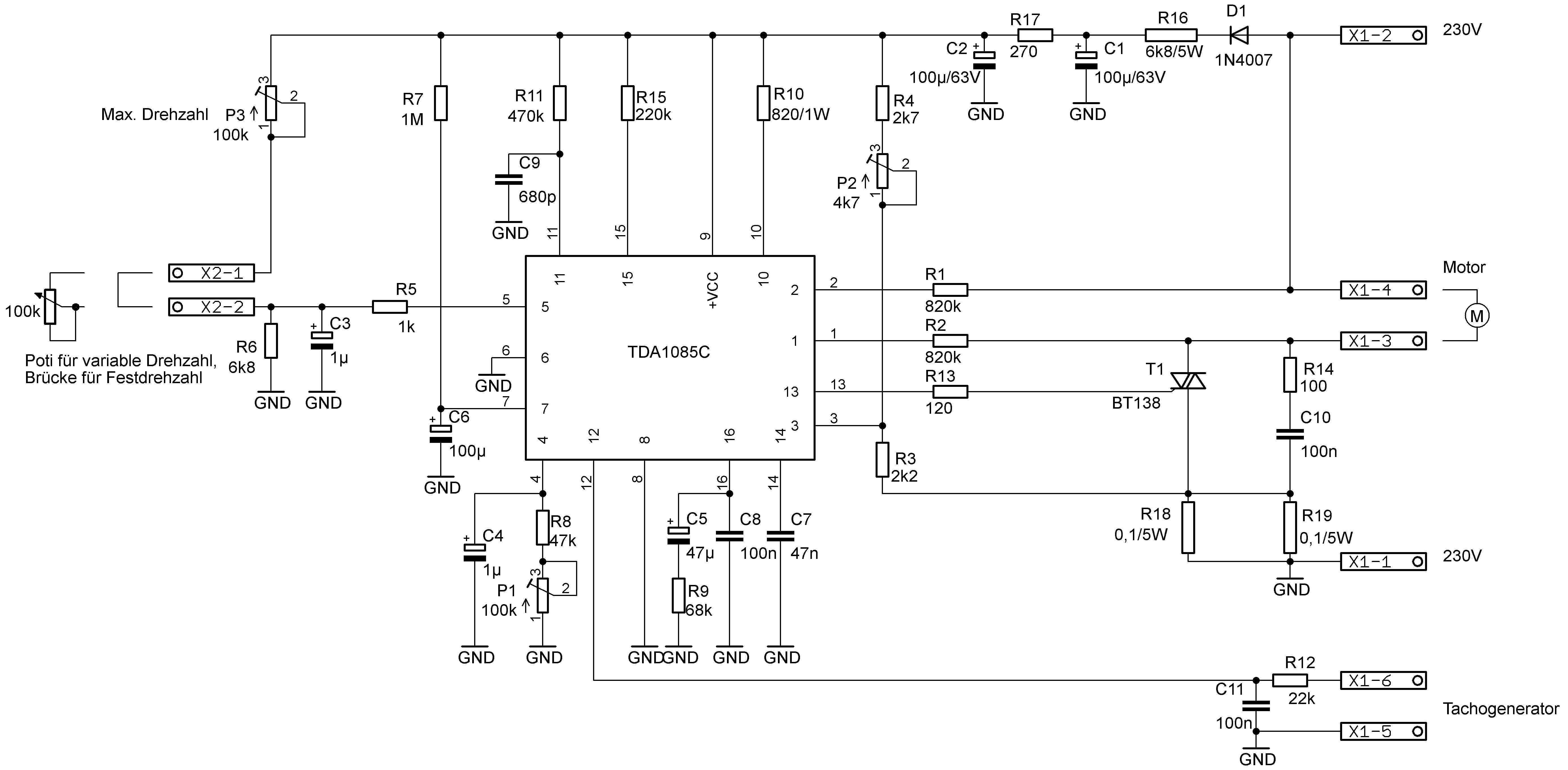 Drehzahlregelung für Universalmotoren